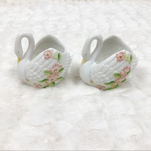 Vintage Lefton Swans dogwood floral bone china
